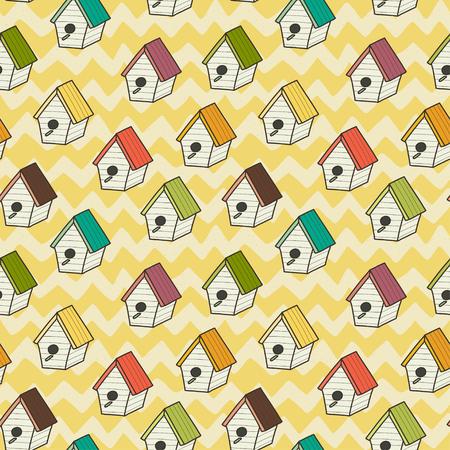 chevron background: Seamless pattern with doodle cartoon birdhouses on chevron background. Hand drawn birdie background. Illustration