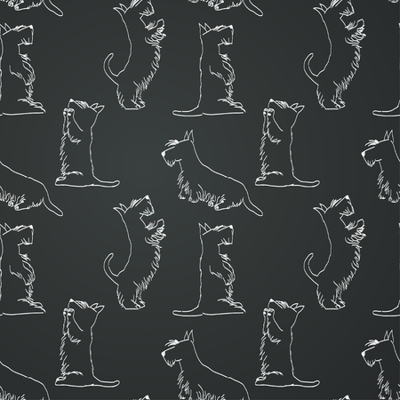 pampered: Seamless pattern with sketches of four cute Scottish terriers in different poses. Hand drawn cartoon dogs begging for a treat. Chalkboard background. Illustration