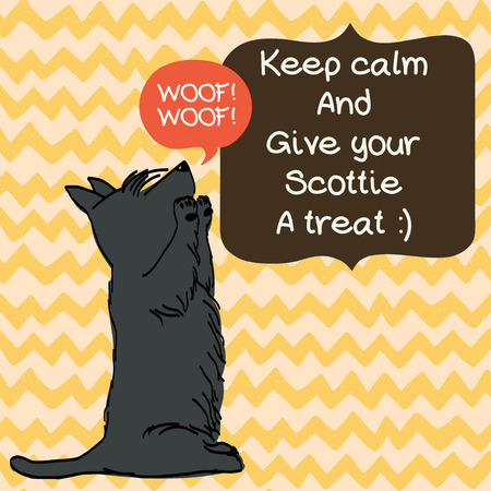 scottish terrier: Cute card template with sketch of a sweet sitting Scottish terrier and figure frames for the text on doodle chevron background. Hand drawn cartoon dog begging for a treat. Illustration