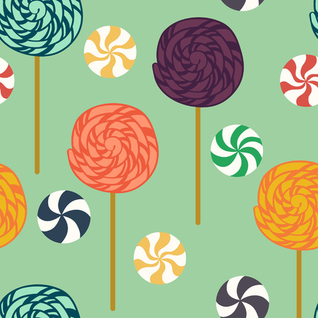 twirled: Seamless pattern with cartoon lollipops and candies. Flat style background.