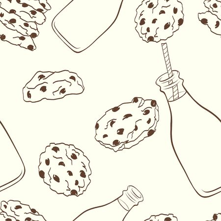 milk and cookies: Hand drawn seamless pattern with doodle cartoon chocolate chip cookies and bottle of milk on light background.