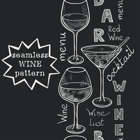 Vertical seamless pattern with sketched glasses for red wine, white wine, martini and cocktail on chalkboard background. Hand written letters in vintage style drawn with chalk on blackboard. Vettoriali