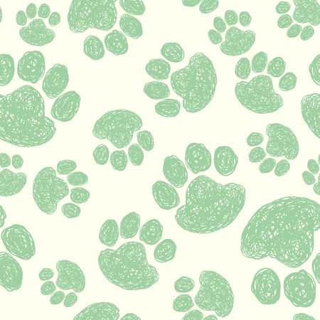 Cute seamless pattern with hand drawn doodle paw prints. Animal background.