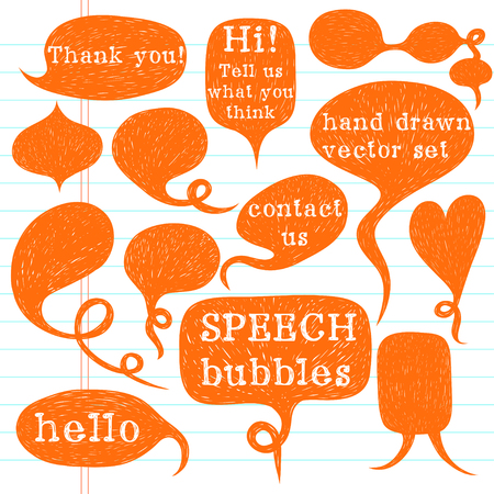 Big set of hand drawn speech bubbles on lined notebook paper background. Doodle cartoon comic bubbles.