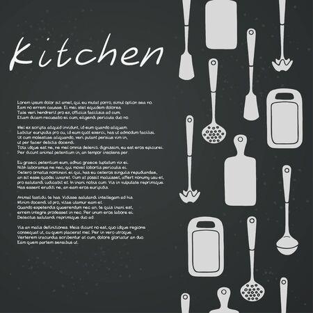 skimmer: Kitchen utensils on chalkboard background. Cutting board, ladle, spatula, skimmer. Vector template.
