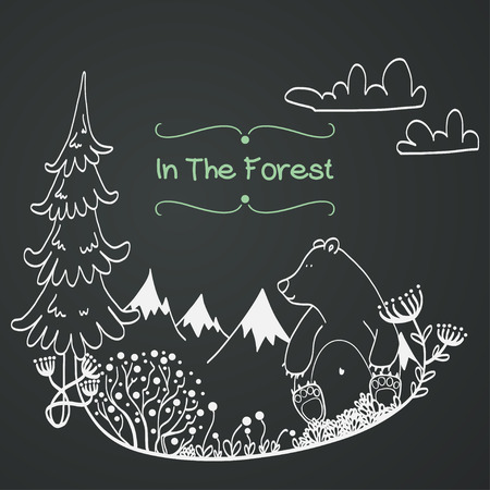 Invitation or greeting card template with cute hand drawn bear sitting in the middle of forest meadow with snowy mountains on the background. Childish doodle illustration on chalkboard background. Illustration