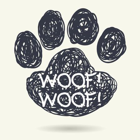 huellas de perro: Dibujado a mano marco Lindo dibujo en forma de impresión de la pata del perro aislado en fondo claro. Vectores
