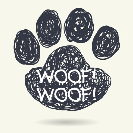 Cute hand drawn doodle frame in shape of dog's paw print isolated on light background.