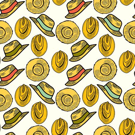 tiling background: Seamless pattern with hand drawn straw hats. Fashionable cartoon hats tiling background.