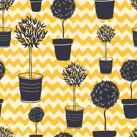 tree silhouettes: Garden seamless pattern with doodle potted tree silhouettes on hand drawn chevron backdrop. Geometrical tiling backgrounds. Illustration