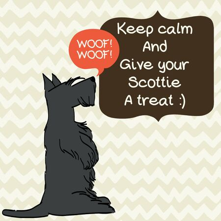 aberdeen: Cute card template with sketch of a sweet sitting Scottish terrier and figure frames for the text on doodle chevron background. Hand drawn cartoon dog begging for a treat. Illustration