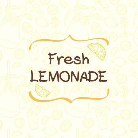 headliner: Seamless pattern with lemonade and its ingredients. Lemon, mint, jug, ice and glass. Hand drawn vector card template with text box and place for the headliner.