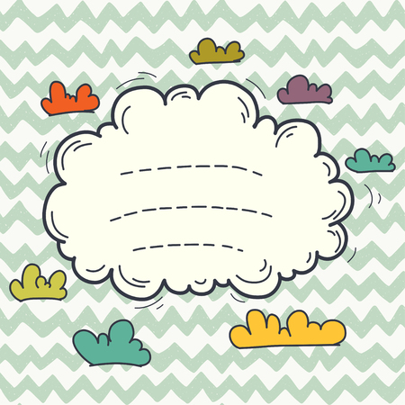 cloud shape: Hand drawn doodle frame in shape of cartoon cloud on chevron seamless pattern. Illustration