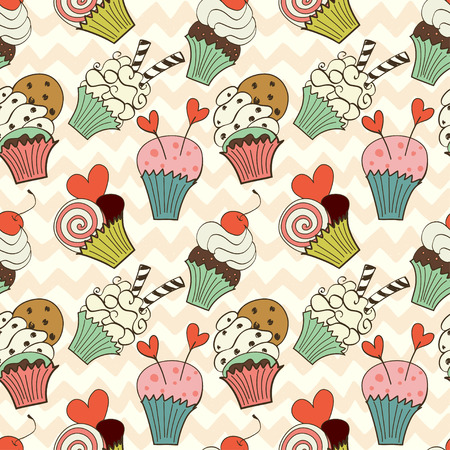 chocolate cupcake: Seamless pattern with hand drawn cartoon cupcakes on chevron background. Cute doodle tasty muffins in bright colors. Illustration