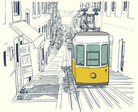 Vector illustration of the street drawn in sketch style. Quiet street in Lisbon with yellow tram and sketched houses. Postcard template.