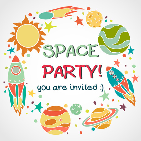 Set of cartoon space elements in circle: rockets, planets and stars. Hand drawn childish background. Theme party invitation or greeting card template. Vettoriali