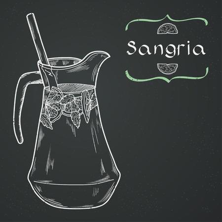 menu background: Doodle hand drawn jug of fresh home made sangria on chalkboard background. Vector illustration for restaurant or cafe menu.