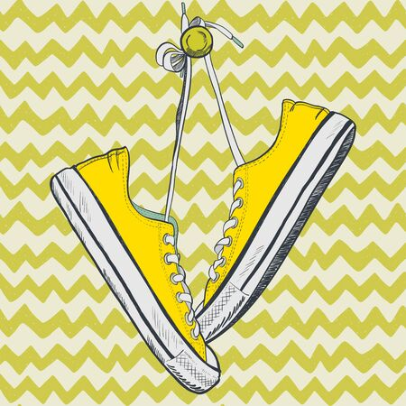 simplification: Pair of yellow sneakers on chevron background drawn in a sketch style. Sneakers hanging on a peg.