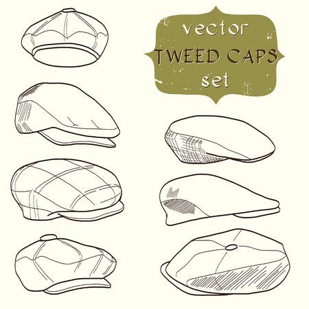 Set of hand drawn men's tweed caps. Fashionable cartoon hats.