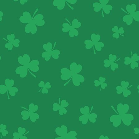 Clover seamless pattern for St. Patrick's Day. Flat style design. Illustration