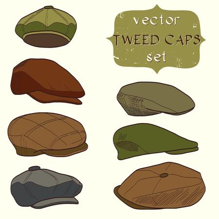 hombre con sombrero: Conjunto de gorras de tweed dibujados a mano de los hombres. De moda los sombreros de la historieta. Vectores