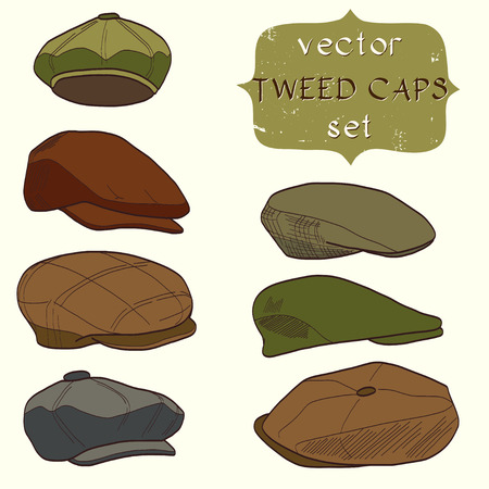 Set of hand drawn mens tweed caps. Fashionable cartoon hats. Ilustração