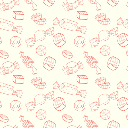 tiling background: Cute seamless pattern made of hand drawn doodle sweets on light background. Cartoon candy tiling background.