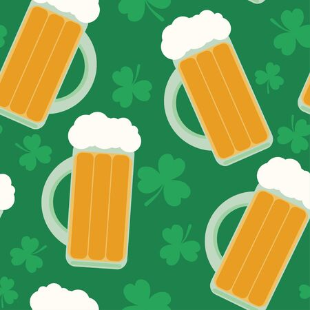 patrick backdrop: Seamless pattern with beer glasses and clover for St. Patricks Day. Flat style background.