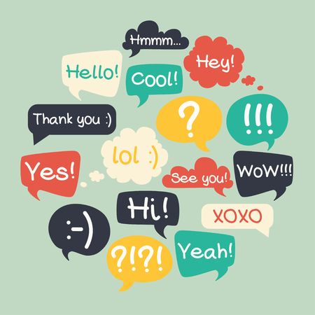 Trendy speech bubbles set in flat design with short messages.