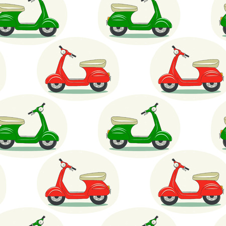 tiling background: Seamless pattern with hand drawn cartoon scooters. Tiling background with doodle motorbikes.