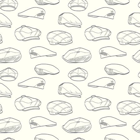 Seamless pattern with hand drawn men's tweed caps. Fashionable cartoon hats tiling background.