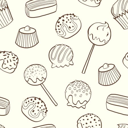 snack bar: Cute seamless pattern made of hand drawn doodle chocolate sweets on light background. Cartoon candy background. Illustration