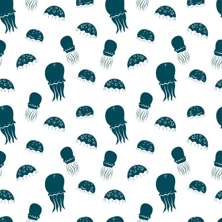 tiling background: Seamless pattern with hand drawn cartoon jellyfish silhouettes on white background. Eps 10 tiling background. Illustration