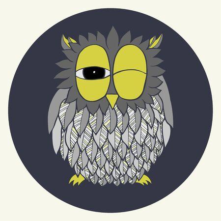 Hand drawn grey cartoon owl. Doodle bird.