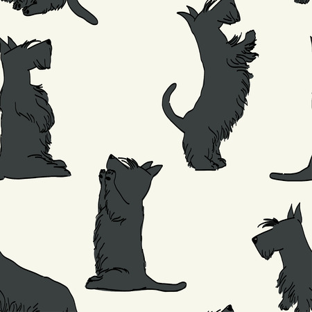 begging: Seamless pattern with sketches of four cute Scottish terriers in different poses. Hand drawn cartoon dogs begging for a treat. Illustration