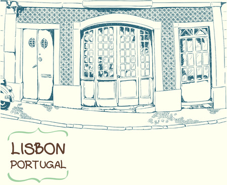front porch: Vector illustration of the street with three front doors drawn in sketch style. Quiet street in a Mediterranean town. Lisbon street. Portugal. Postcard template. Illustration