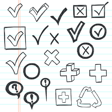 mark: Checkmarks and checkboxes drawn in a doodled style on lined notebook paper.