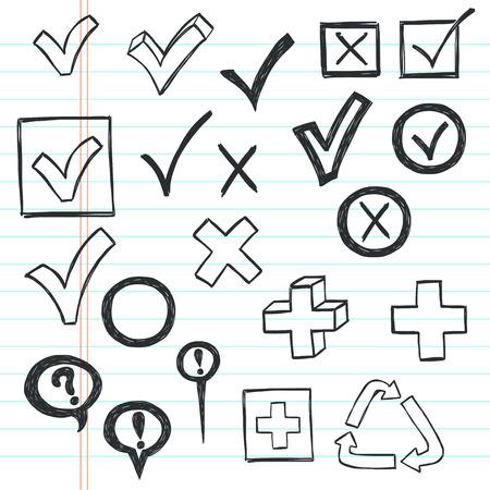 garrapata: Marcas de verificación y casillas dibujadas en un estilo garabatos en papel cuaderno rayado.