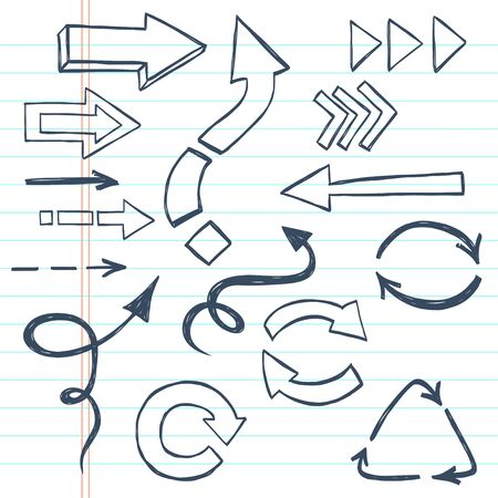 doodled: Abstract sketchy arrows drawn in a doodled style on lined notebook paper. Illustration