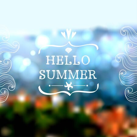 mediterranean: Creative graphic message for travel summer design.Vector blurred background with hand drawn sea elements. Old mediterranean town in Croatia. Illustration