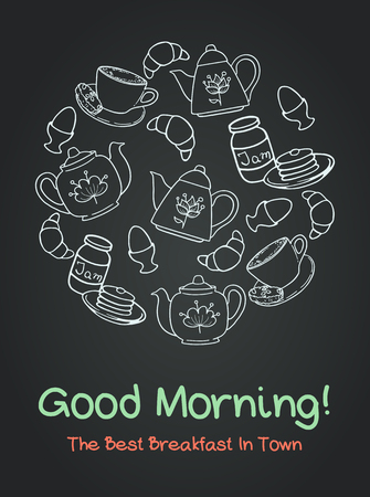 hand jam: Breakfast set with coffee cup, croissant, boiled egg, tea pots, jam and pancakes on chalkboard background. Hand drawn meal time poster.
