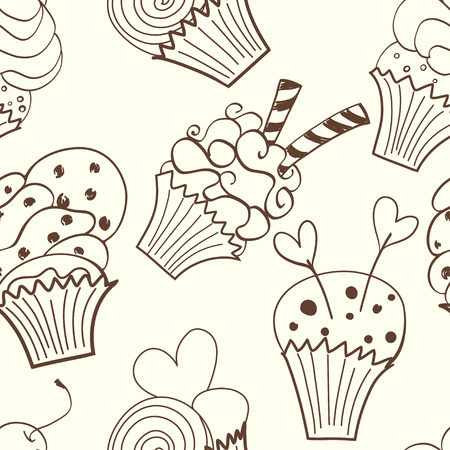 muffins: Seamless pattern with funny hand drawn cartoon cupcakes. Cute doodle tasty muffins on light background.