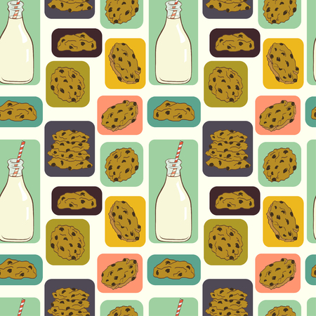 milk and cookies: Hand drawn seamless pattern with doodle cartoon chocolate chip cookies and bottle of milk in colorful squares on polka dot background.