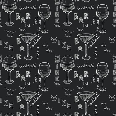 tomando alcohol: Patr�n sin fisuras con las gafas de boceto para el vino tinto, vino blanco, martini y c�ctel en el fondo pizarra. Mano escrito cartas en el estilo vintage dibujados con tiza en la pizarra. Vectores