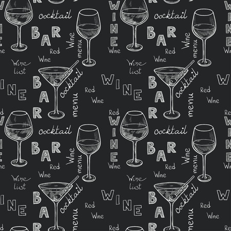 cocktails: Seamless pattern with sketched glasses for red wine, white wine, martini and cocktail on chalkboard background. Hand written letters in vintage style drawn with chalk on blackboard.