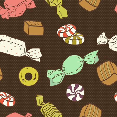 tiling background: Cute seamless pattern made of colorful hand drawn doodle sweets on polka dot background. Cartoon candy tiling background.