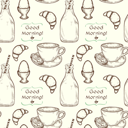 boiled: Hand drawn sketch of morning cup of coffee, boiled egg, bottle of milk and croissant with place for a text. Vintage style breakfast seamless pattern.