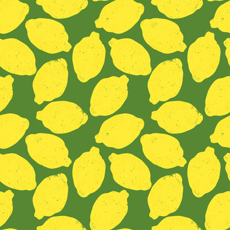 tiling background: Seamless pattern with bright grunge textured lemons. Food tiling background. Eps 10 citrus illustration.
