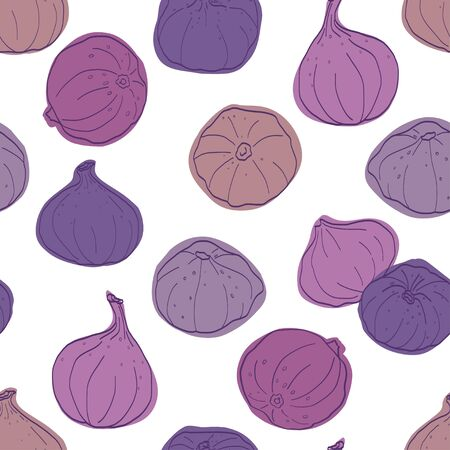 tiling background: Seamless pattern made of colored sketchy hand drawn figs. Summer fruit tiling background.