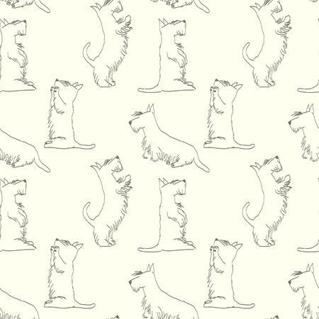 Seamless pattern with sketches of four cute Scottish terriers in different poses. Hand drawn cartoon dogs begging for a treat. Animal tiling background.